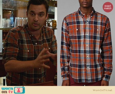 Urban Outfitters Stapleford Banger Plaid Button-Down Flannel Shirt worn by Jake Johnson on New Girl