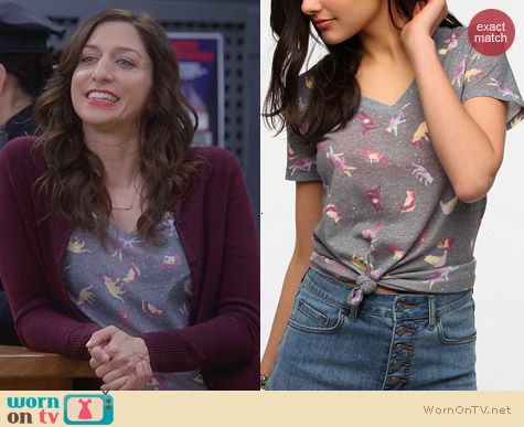 Urban Outfitters BDG Printed Sheer V-Neck Tee in Grey Cats worn by Chelsea Peretti on Brooklyn 99
