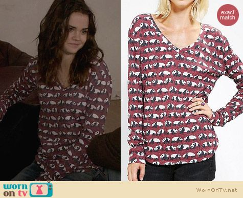 Urban Outfitters BDG Printed Winterlite Tee in Red Panda worn by Maia Mitchell on The Fosters