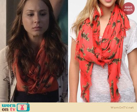 Urban Outfitters Cooperative Conversational Print Scarf worn by Troian Bellisario on PLL