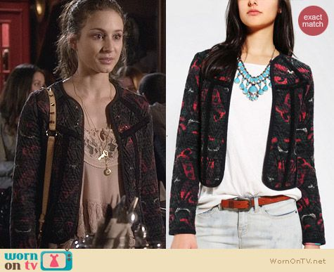 Urban Outfitters Ecote Jacquard Woven Cardigan worn by Troian Bellisario on PLL