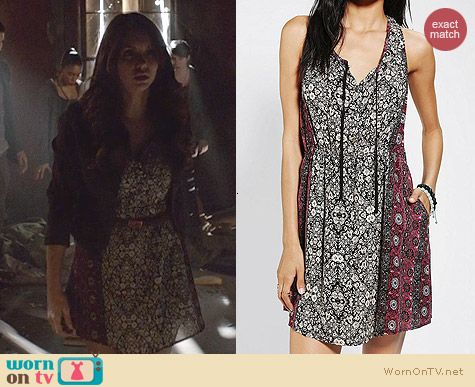 Urban Outfitters Ecote Tie-Neck Tank Dress worn by Nina Dobrev on The Vampire Diaries