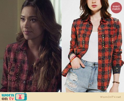 Urban Outfitters Kill City Acid Wash Plaid Shirt worn by Shay Mitchell on PLL