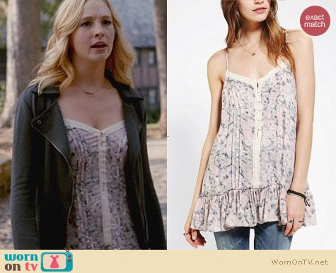 Urban Outfitters Kimchi Blue Ruffle Hem Cami worn by Candice Accola on The Vampire Diaries
