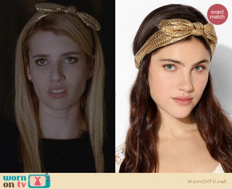 Urban Outfitters Metallic Bow Headwrap worn by Emma Roberts on AHS Coven