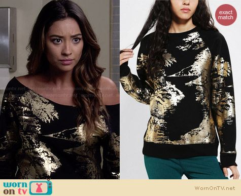 Urban Outfitters Silence + Noise Scenic Foil Sweatshirt worn by Shay Mitchell on PLL