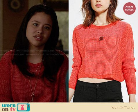 Urban Outfitters Silence + Noise Stitch Crop Sweater worn by Cierra Ramirez on The Fosters