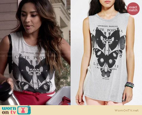 Urban Outfitters Truly Madly Deeply Garden Muscle Tee worn by Shay Mitchell on PLL