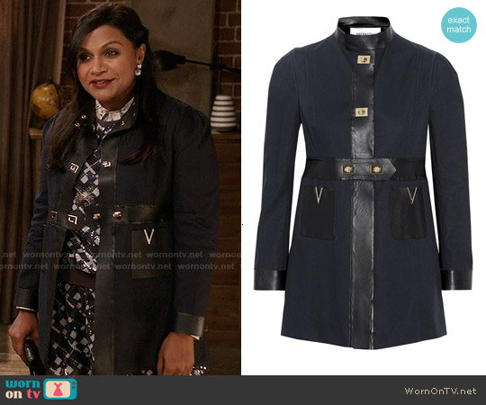 Valentino Faux Leather-Trimmed Cotton-Poplin Coat worn by Mindy Kaling on The Mindy Project
