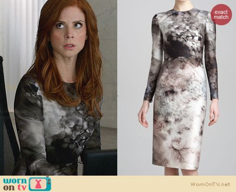 Valentino Floral Long Sleeve Dress worn by Sarah Rafferty on Suits