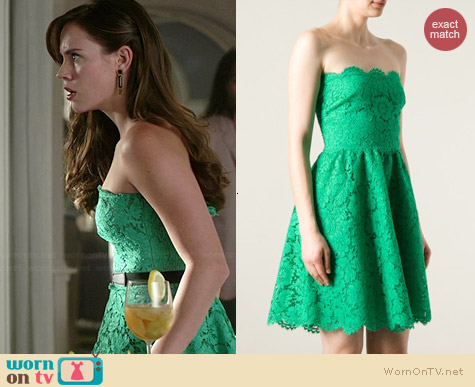 Valentino Green Floral Lace Dress worn by Christa Allen on Revenge