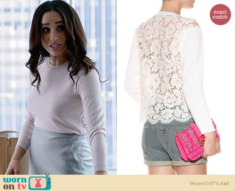 Valentino Lace Trimmed Cotton Sweater worn by Meghan Markle on Suits