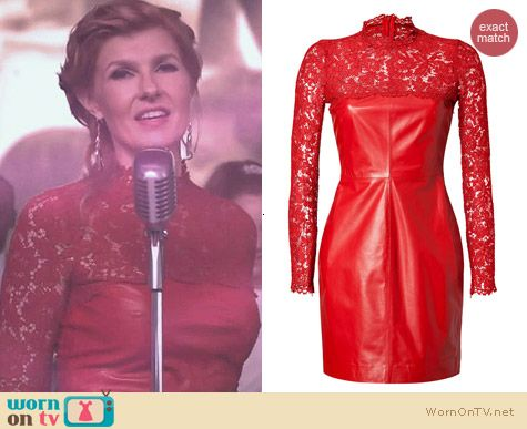 Valentino Red Leather and Lace Dress worn by Connie Britton on Nashville