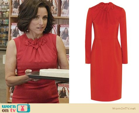 Valentino Red Rose Detailed Dress worn by Julia Louis-Dreyfus on Veep
