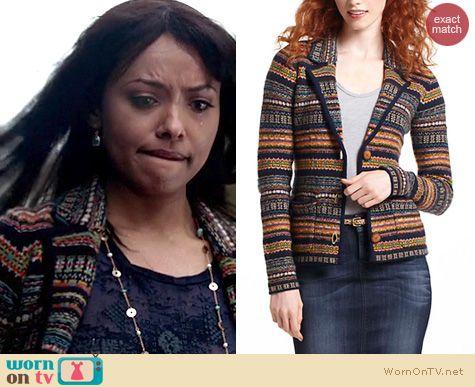 TVD Fashion: Anthropologie Fair Isle Blazer worn by Kat Graham