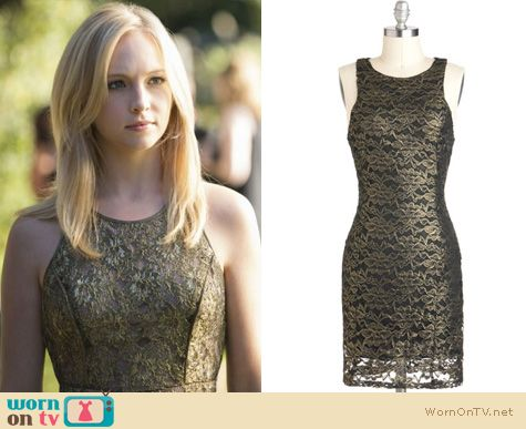Vampire Diaries Fashion: Gold lace dress worn by Caroline