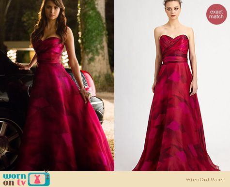 Vampire Diaries Fashion: Theia pink prom dress worn by Nina Dobrev