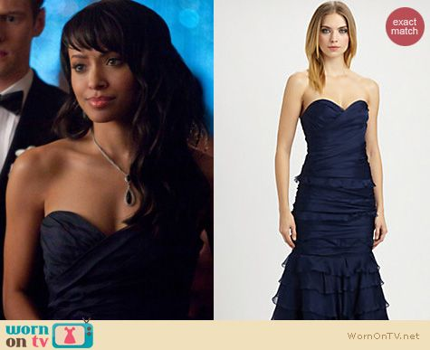 The Vampire Diaries Fashion: Theia strapless navy sweetheart gown worn by Kat Graham