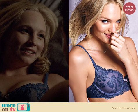 The Vampire Diaries Fashion: Victoria's Secret Demi bra in Ink Blot Lace worn by Candice Accola