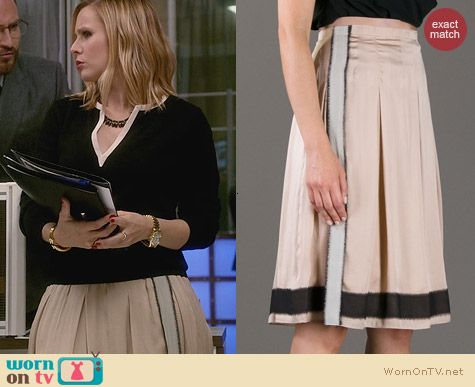 Vanessa Bruno Pleated Organza Trimmed Skirt worn by Kristen Bell on House of Lies