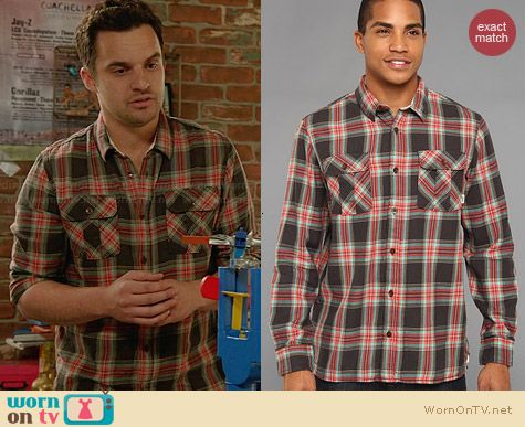 Vans Birch Shirt in New Charcoal worn by Jake Johnson on New Girl