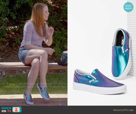 Vans Classic Slip On Sneakers in Iridescent worn by Katie Leclerc on Switched at Birth