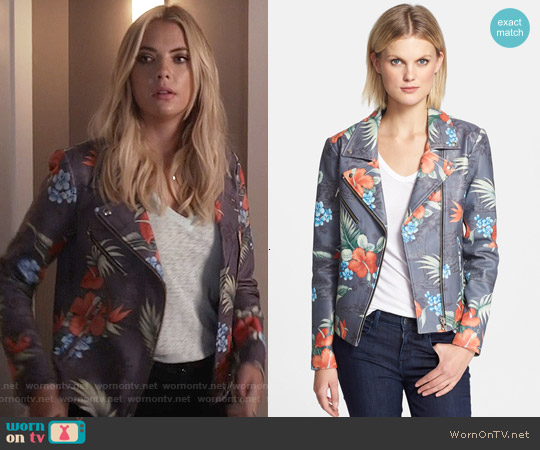 Veda Lazer Print Leather Jacket worn by Ashley Benson on PLL