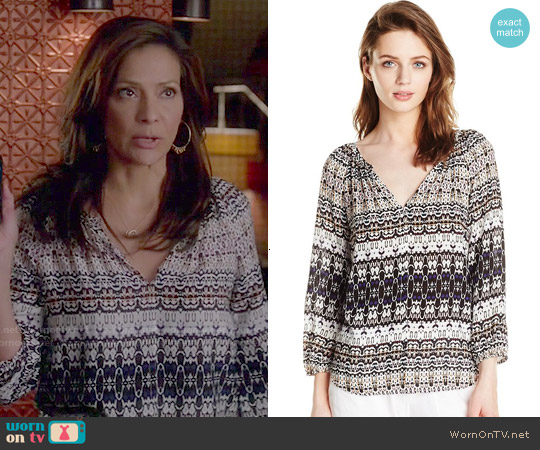 Velvet by Graham & Spencer Bengal Print Blouse worn by Constance Marie on Switched at Birth