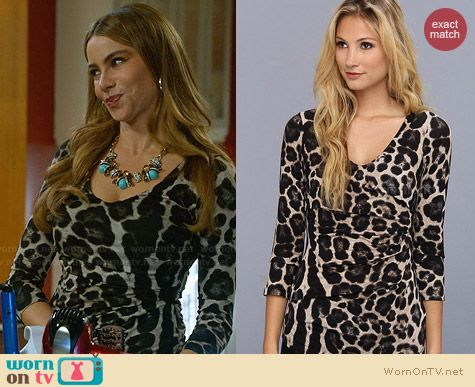 Velvet by Graham & Spencer Bubbles Leopard Print Top worn by Sofia Vergara on Modern Family