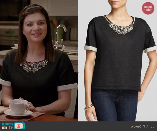 Velvet by Graham & Spencer Jewel Neck Sweatshirt worn by Casey Wilson on Marry Me