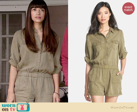 Velvet Heart Erin Roll Sleeve Romper worn by Hannah Simone on New Girl