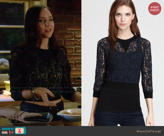 Vena Cava 'Mirabella' Lace Sweatshirt Top worn by Haley Ramm on Chasing Life