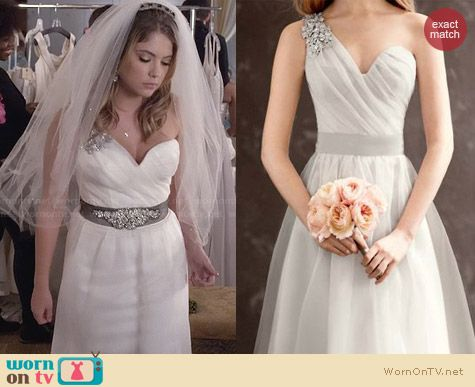 Vera Wang White VW351185 Gown worn by Ashley Benson on PLL