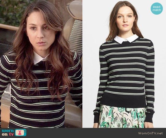 Veronica Beard Collared Button Back Stripe Sweater worn by Troian Bellisario on PLL