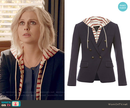 Veronica Beard Navy Captain Double Breasted Jacket w/ Striped Dickey worn by Rose McIver on iZombie