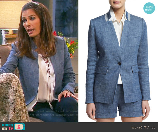 Veronica Beard Orchid Chambray Upcollar Jacket worn by Hope Williams on Days of our Lives