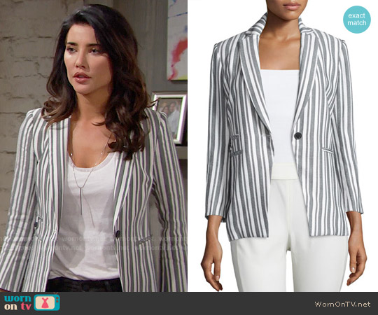Veronica Beard Beatriz Striped Jacket worn by Jacqueline MacInnes Wood on The Bold & the Beautiful