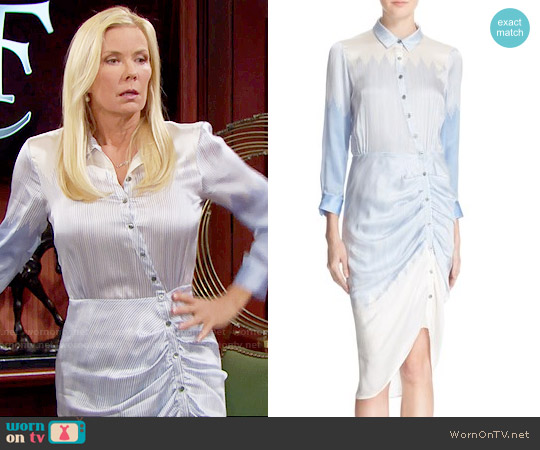 Veronica Beard Clara Silk Shirtdress worn by Katherine Kelly Lang on The Bold & the Beautiful
