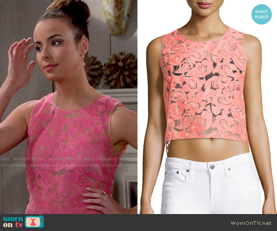 Veronica Beard Embroidered Organza Top worn by Ashleigh Brewer on The Bold & the Beautiful