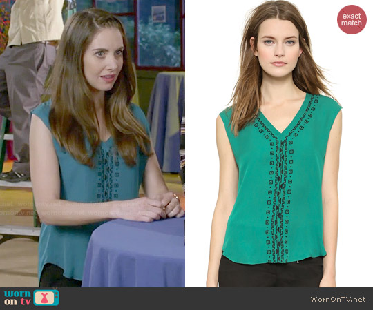 Veronica Beard Embroidered V-neck Top worn by Alison Brie on Community