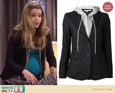 Veronica Beard Hood Inset Blazer worn by Majandra Delfino on FWBL