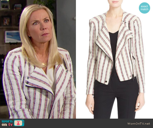 Veronica Beard 'Mara' Stripe Tweed Moto Jacket worn by Katherine Kelly Lang on The Bold & the Beautiful
