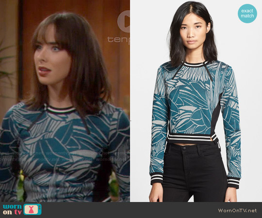 Veronica Beard Palm Jacquard Jersey Sweater worn by Ashleigh Brewer on The Bold & the Beautiful