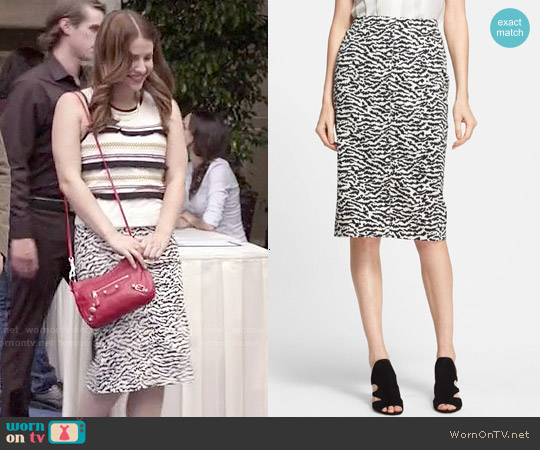 Veronica Beard Tiger Pattern Pencil Skirt worn by Audrey Pitagorski on Kevin from Work