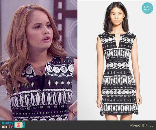 Veronica Beard Woodblock Print Flouce Skirt Dress worn by Debby Ryan on Jessie