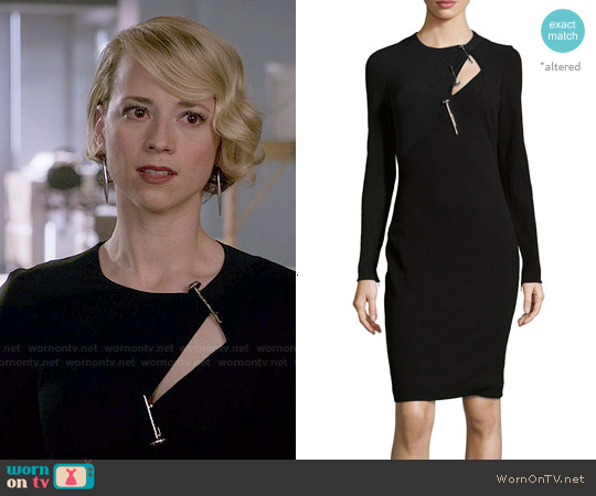 Versace Long Sleeve Wool-Blend Sheath Dress worn by Karine Vanasse on Revenge