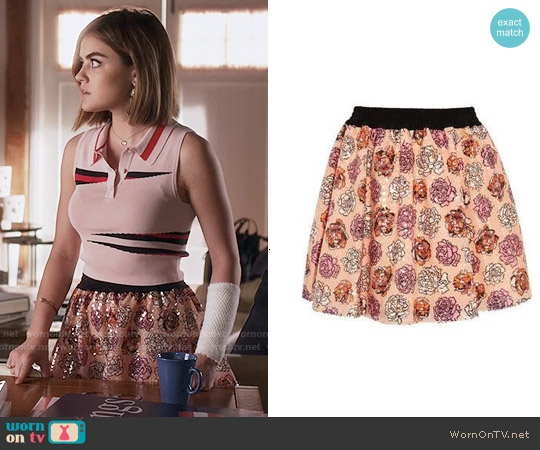 Versus Versace Sequined Floral-Print Voile Mini Skirt worn by Aria Montgomery on PLL