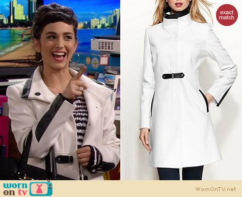 Via Spiga Faux Leather Trim White Walker Coat worn by Molly Ephraim on Last Man Standing