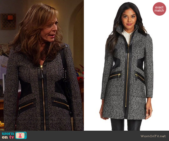 Via Spiga Mixed Media Donegal Coat worn by Allison Janney on Mom