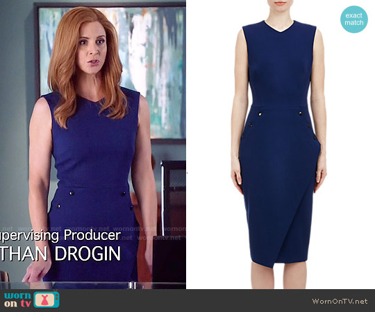 Victoria Beckham Crepe Sheath Dress worn by Sarah Rafferty on Suits
